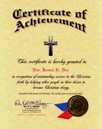 christian certificates  Christian Ordination Certificate Online | Examples | Church Charter