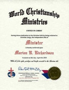 Ordination Certificate, Religious Certificate Examples, WCM