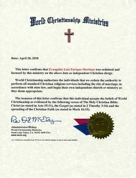 wcm ordination letter